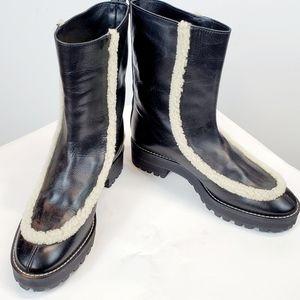 Stuart Weitzman boots with fur trim SZ 7.5